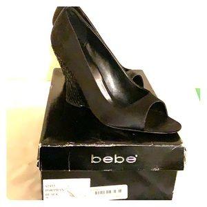 Bebe sequin wedge heels